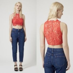 TOPSHOP Orange High Neck Lace Crop Top